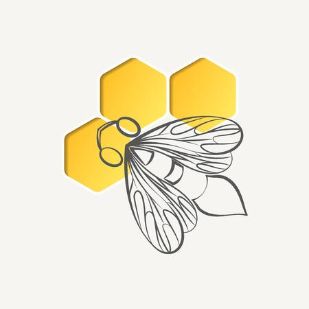 honeyed: Bee and honeycomb. Colorful, stylized image.