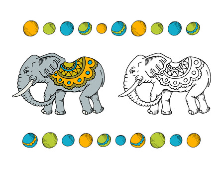 feat: Hand drawn colorful and monochromatic elephants. Isolated, can be used as part of  for coloring.