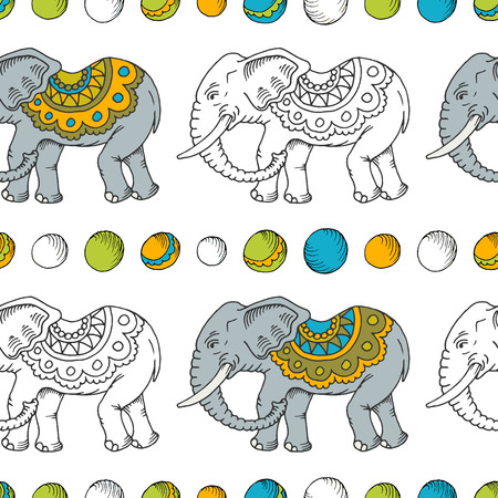Seamless hand drawn pattern with elephants. Vector