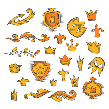 Set of hand drawn crowns and decorative elements. Vector