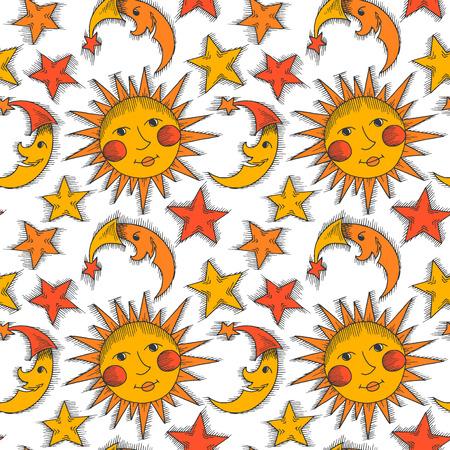 zon en maan: Naadloze patroon met zon, maan en sterren Stock Illustratie