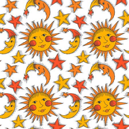 jovial: Seamless pattern with sun, moon and stars