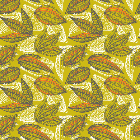 Seamless bright leaves pattern. Ornamental hand drawn leaves. Vector