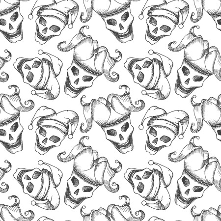 wag: Joker skull seamless pattern based on a hand drawn sketch. No gradients and clipping mask.