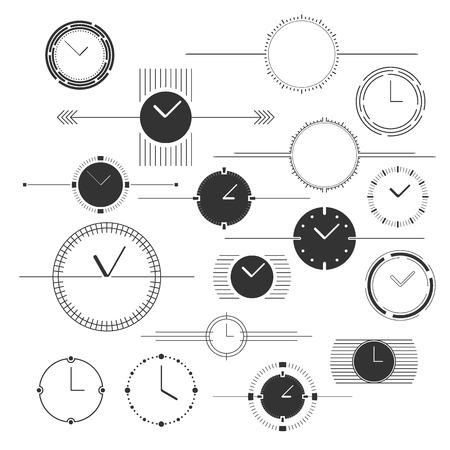 Set of vector watch design elements. Monochromatic. Illustration