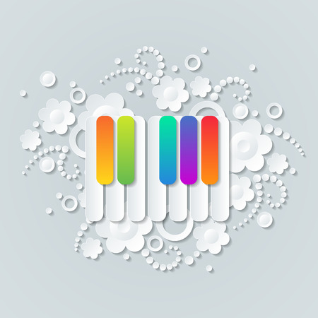 pianoforte: Floral background with colorful keys of pianoforte, musical theme wallpaper. Illustration