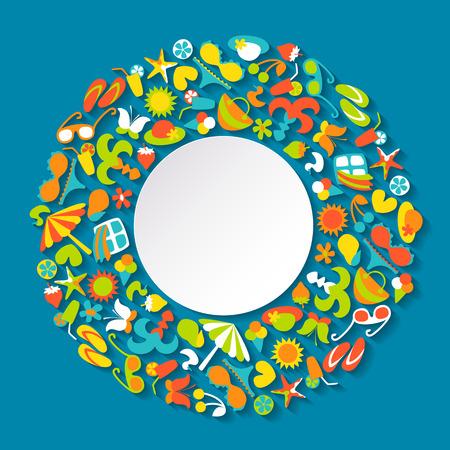 agencia de viajes: Fondo colorido del verano con los iconos brillantes