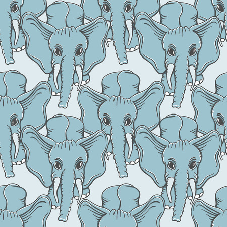 feat: Seamless hand drawn pattern with elephants.