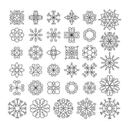 Set of contour linear flowers, graphical, isolated.