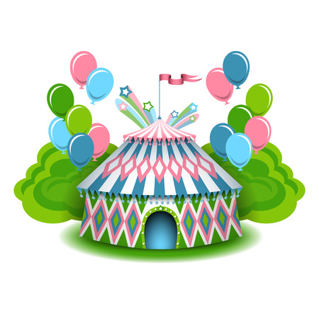 Colorful circus illustration, with balloons and firework. Vector