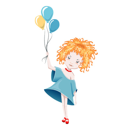 frizzy: Cute curly girl with balloons, isolated on white. Illustration