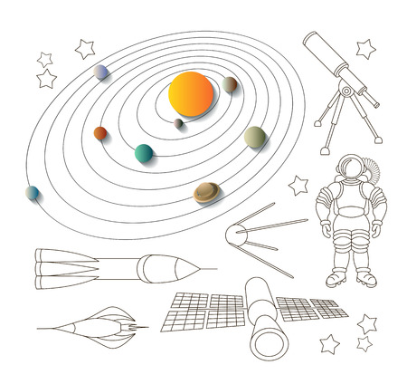 environmental suit: Space icons and solar system, isolated linear objects. Illustration