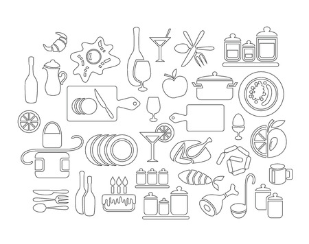 picto: Set of linear kitchen objects and food Illustration