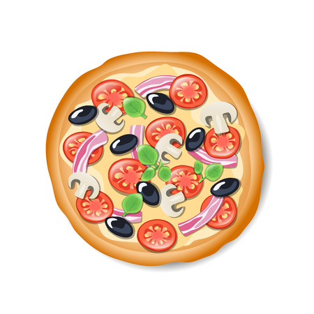 tasty: Isolated tasty Italian pizza. Illustration