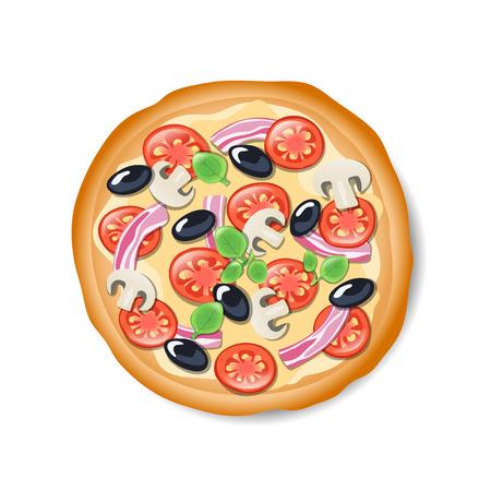 Isolated tasty Italian pizza. Illustration