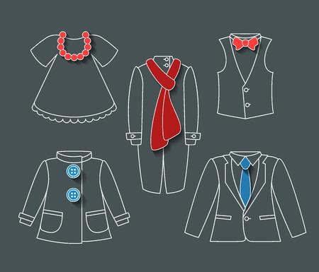 outerwear: Cappotti icone set, oggetti creativi lineari con accessori Vettoriali