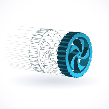 metal drawing: Car wheel technological concept, production illustration
