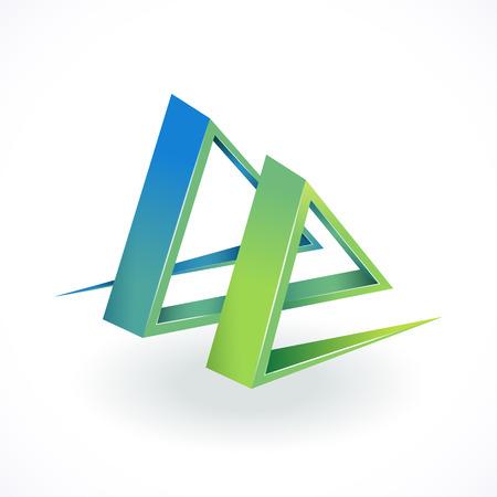 duality: Geometrical creative object, logo, conceptual design. Illustration