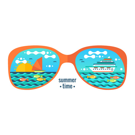Summer vacation flat illustration, cruise adventure background