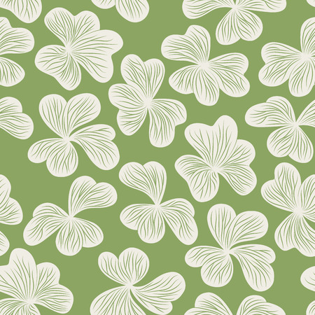 graphical: Graphical clover leaves seamless pattern Illustration