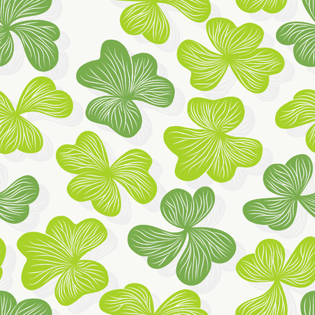 clover backdrop: Clover leaves seamless pattern, graphical floral wallpaper Illustration