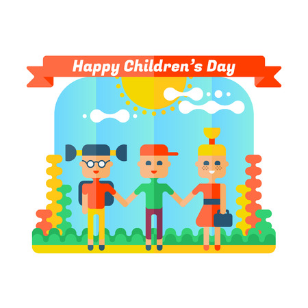 schooldays: Happy childrens day greeting card. Flat illustration.