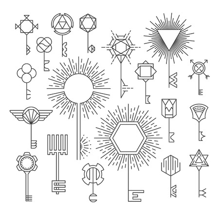 set of keys: Linear key set, hipster style, logotypes and signs, design elements.