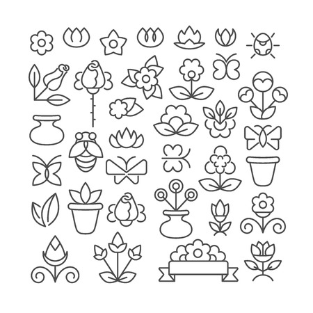 Linear graphical flowers, set of isolated objects.
