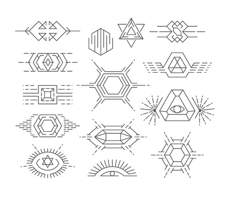 sun set: Set of vector geometric symbols, liinear icon types and design elements.