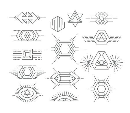 sun set: Set of vector geometric symbols, liinear icon types and design elements.