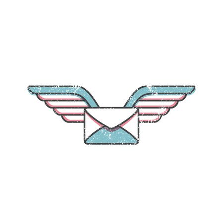 Cartoon letter retro icon, flying mail icon Vector