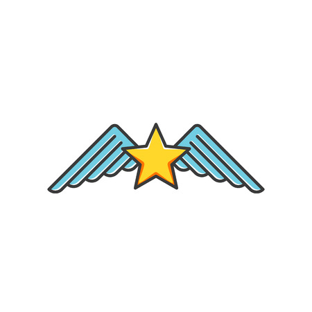 estimation: Star and wings icon type, isolated cartoon symbol. Illustration
