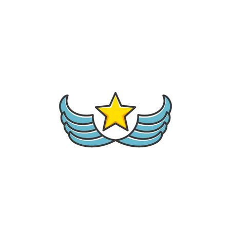 wings icon: Star e ali tipo di icona, isolato simbolo cartone animato