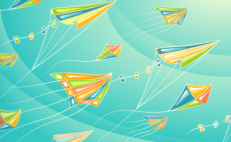 panchami: Colorful summer background. Flying in sky cartoon vector kites.