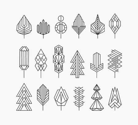 ecology emblem: Graphical tree set, hipster linear style