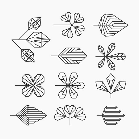 leaf line: Hipster geometrical leaves set of isolated symbols logos.
