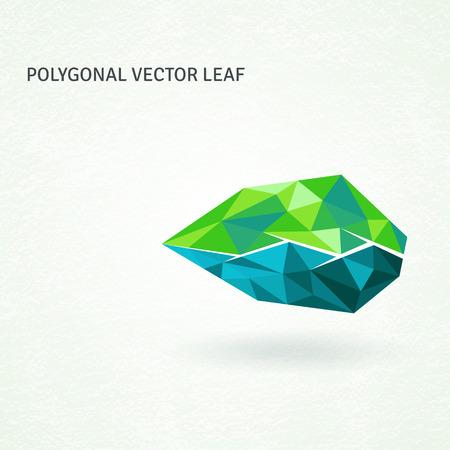 geometrically: Polygonal leaf, geometrically shaped from triangles.