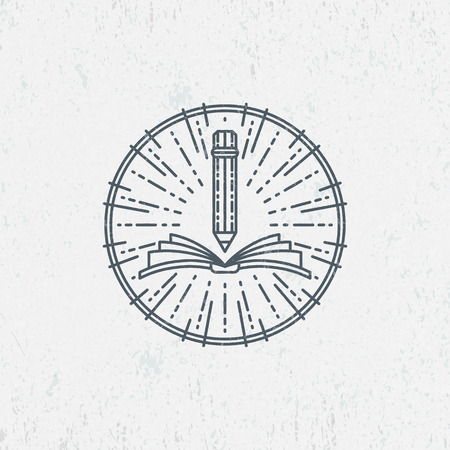 reading and writing: Lineart symbol for knowledge, education, school, art. Graphical logo, label.