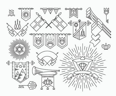 couronne royale: Ensemble de drapeaux graphiques lin�aires, des �l�ments de conception de style hippie, symboles royaux r�tro.