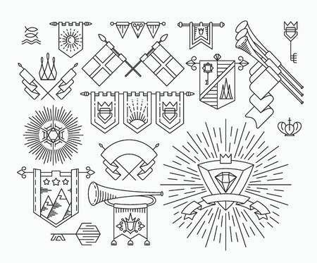 Set of linear graphical flags, hipster style design elements, retro royal symbols. Illustration