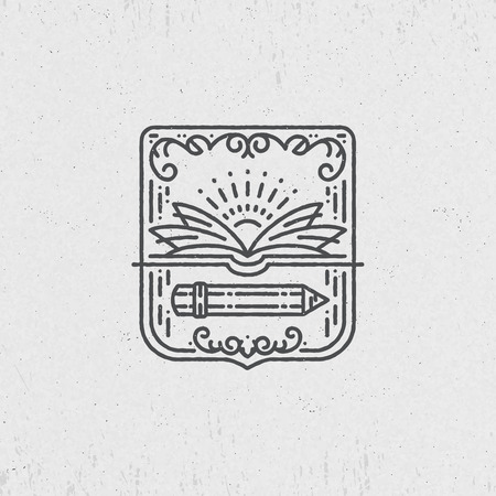 graphical: Lineart symbol for knowledge, education, school, art. Graphical logo, label.