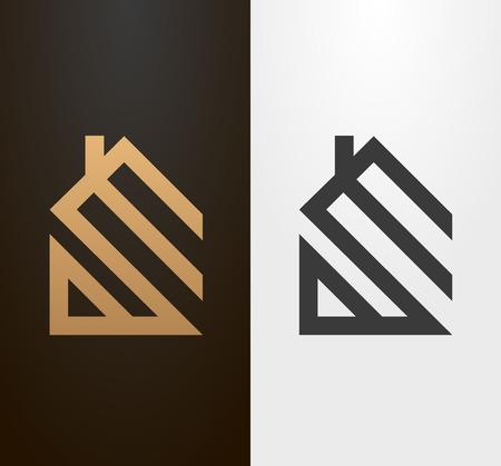 bienes raices: Casa de línea simple, icono.