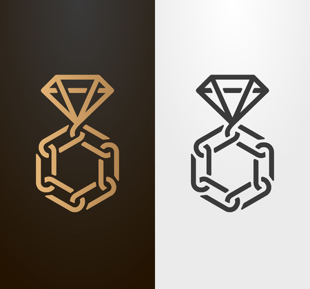 Diamond ring with chain line symbol, wedding and engagement icon.