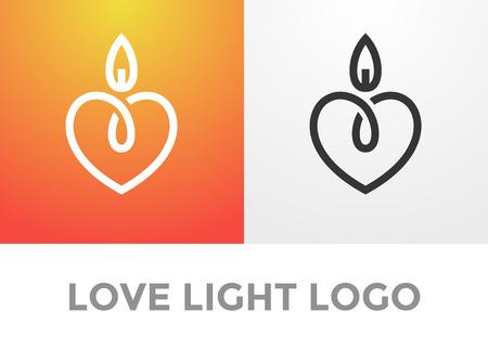 bougie coeur: Bougie logo lumi�re romantique, symbole de bon c?ur et tendre, l'amour et l'embl�me de la charit�