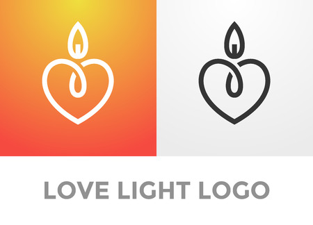 Candle light romantic logo, symbol of kind and tender heart, love and charity emblem 矢量图像