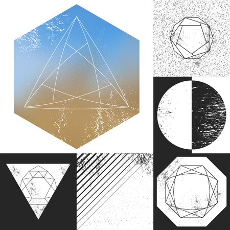 layer masks: Set of vector geometrical textures with linear objects and scratched areas.