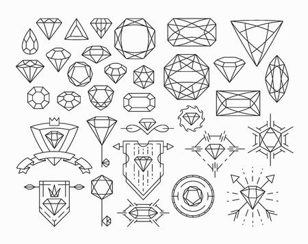 diamante: Conjunto de piedras preciosas aislados y elementos de diseño de línea delgada, emblemas con diamantes.