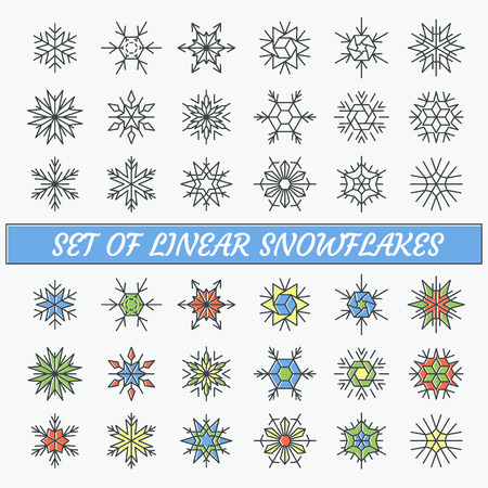 thin ice: Set of linear snowflakes, line empty and color contour objects. Illustration