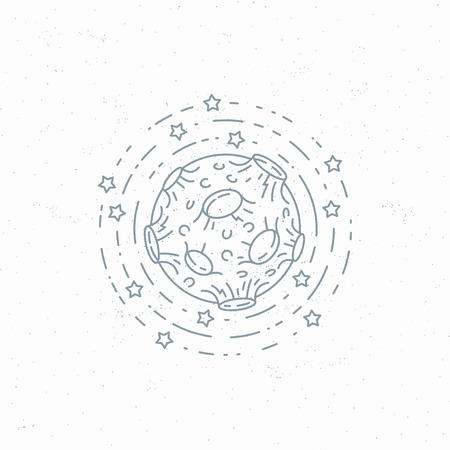 lineart: Lineart moon symbol, space theme label,  mark.