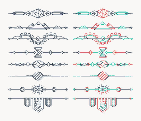vintage invitation: Set of linear empty, flat headers. Isolated, editable lineart design elements.